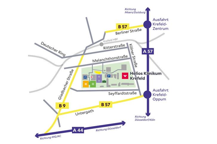 Krefeld Karte.Anfahrt Und Parken Helios Klinikum Krefeld