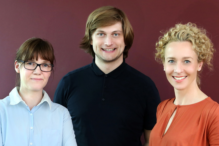 Susann Albrecht, Online Marketing Managerin, Frank Schulze, Creative Director, und Natalie Erdmann, Leiterin Unternehmenskommunikation und Marketing (v.l.n.r)
